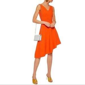 NEW MILLY Orange Asymmetrical Hem Flared Dress